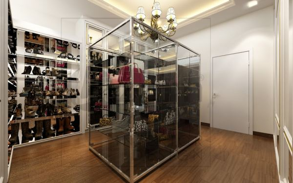 Transparent cabinet with black color tempered glass shleve. Walk in closet White Victorian interior design for Mr. Alex Wong's Semi-D House in Cyberjaya, Malaysia. Shah Alam, Selangor, Kuala Lumpur (KL), Malaysia Service, Interior Design, Construction, Renovation   Lazern Sdn Bhd
