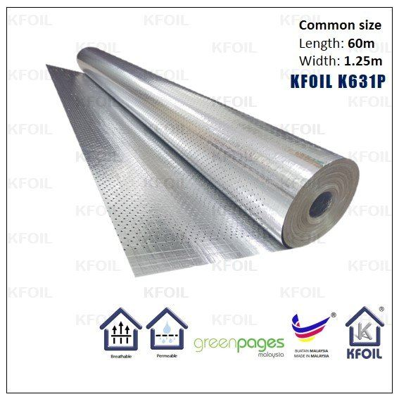 (K631P) D/S Perforated Reflective Metalized Paper Film, 8x8 Fiberglass Scrim Reinforced Perforated Foil Sound Dampening Foil Penang  | K Foil Insulation (Malaysia) Sdn Bhd
