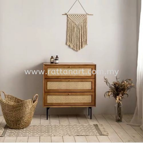 RATTAN DRAWER CHEST CABINET LEON