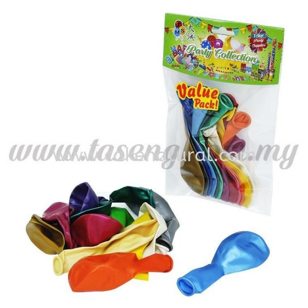 12 inch Metallic Balloon Assorted Color 12pcs (B-MM12) Balloon Pack Accessories Malaysia, Selangor, Kuala Lumpur (KL), Kapar Supplier, Delivery, Supply, Supplies   Natural Cake House