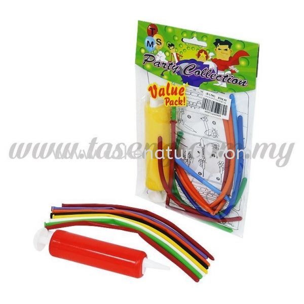 Long Hand Pump with 8pcs Twist Balloon (B-L590) Balloon Pack Accessories Malaysia, Selangor, Kuala Lumpur (KL), Kapar Supplier, Delivery, Supply, Supplies   Natural Cake House