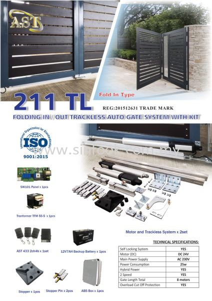 211TL TRACKLESS AUTOGATE SYSTEM TRACKLESS SYSTEM Auto Gate System Johor Bahru (JB), Senai, Selangor, Kuala Lumpur (KL), Klang Installation, Services, Repair, Supplier | Sin Fook Electrical Alarm and Auto Gate Sdn. Bhd.