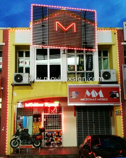 led lighting border with 3d Arcylic letters M 3D Embossed Lettering Sign Johor Bahru (JB), Johor, Malaysia. Design, Supplier, Manufacturers, Suppliers | M-Movitexsign Advertising Art & Print Sdn Bhd