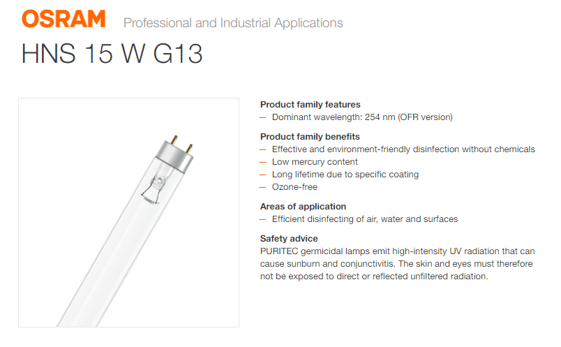 OSRAM HNS 15W G13 TUV GERMICIDAL LAMP 45CM DISINFECTION LAMP- USE WITH CAUTION