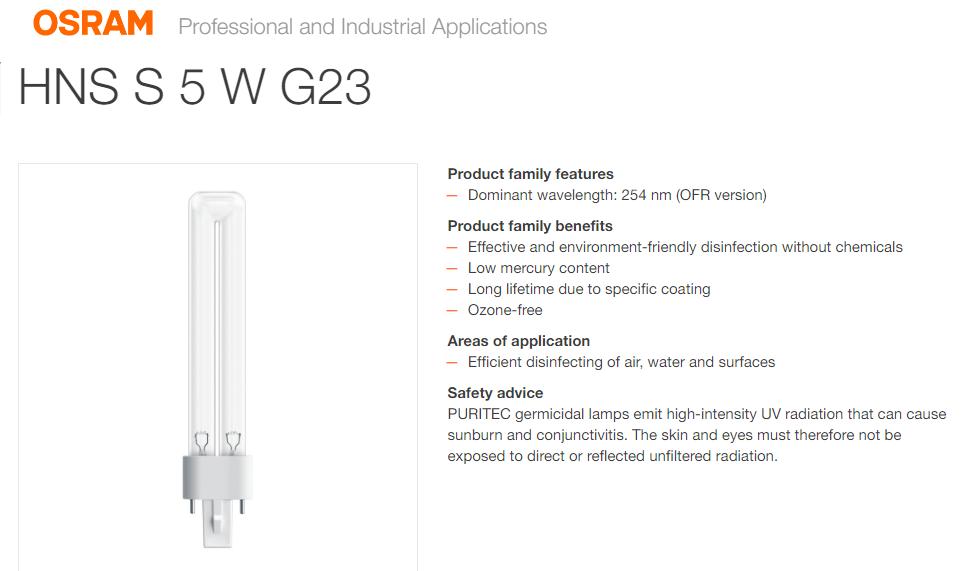 OSRAM HNS S 5W G23 GERMICIDAL LAMP TUV PL-S