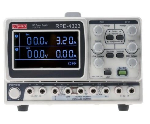 122-5035 - RS PRO Digital Bench Power Supply 212W, 4 Output 0 → 32V 1 A, 3 A