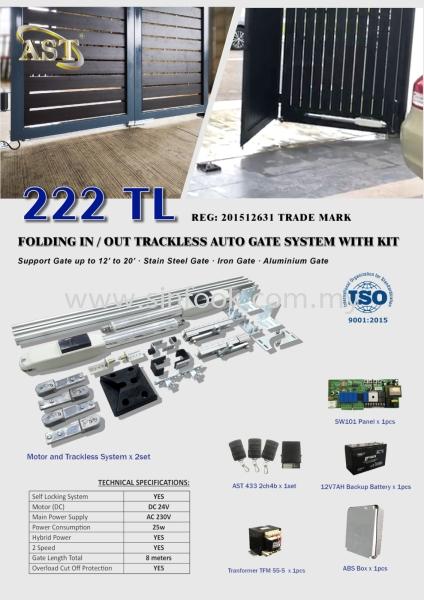 222 TL TRACKLESS FOLDING GATE TRACKLESS SYSTEM Auto Gate System Johor Bahru (JB), Senai, Selangor, Kuala Lumpur (KL), Klang Installation, Services, Repair, Supplier   Sin Fook Electrical Alarm and Auto Gate Sdn. Bhd.