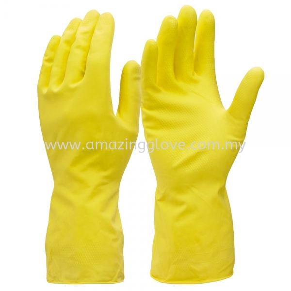 Yellow Rubber Household Gloves Household Glove Malaysia, Johor Bahru (JB) Supplier, Suppliers, Supply, Supplies | Amazing Glove Sdn Bhd