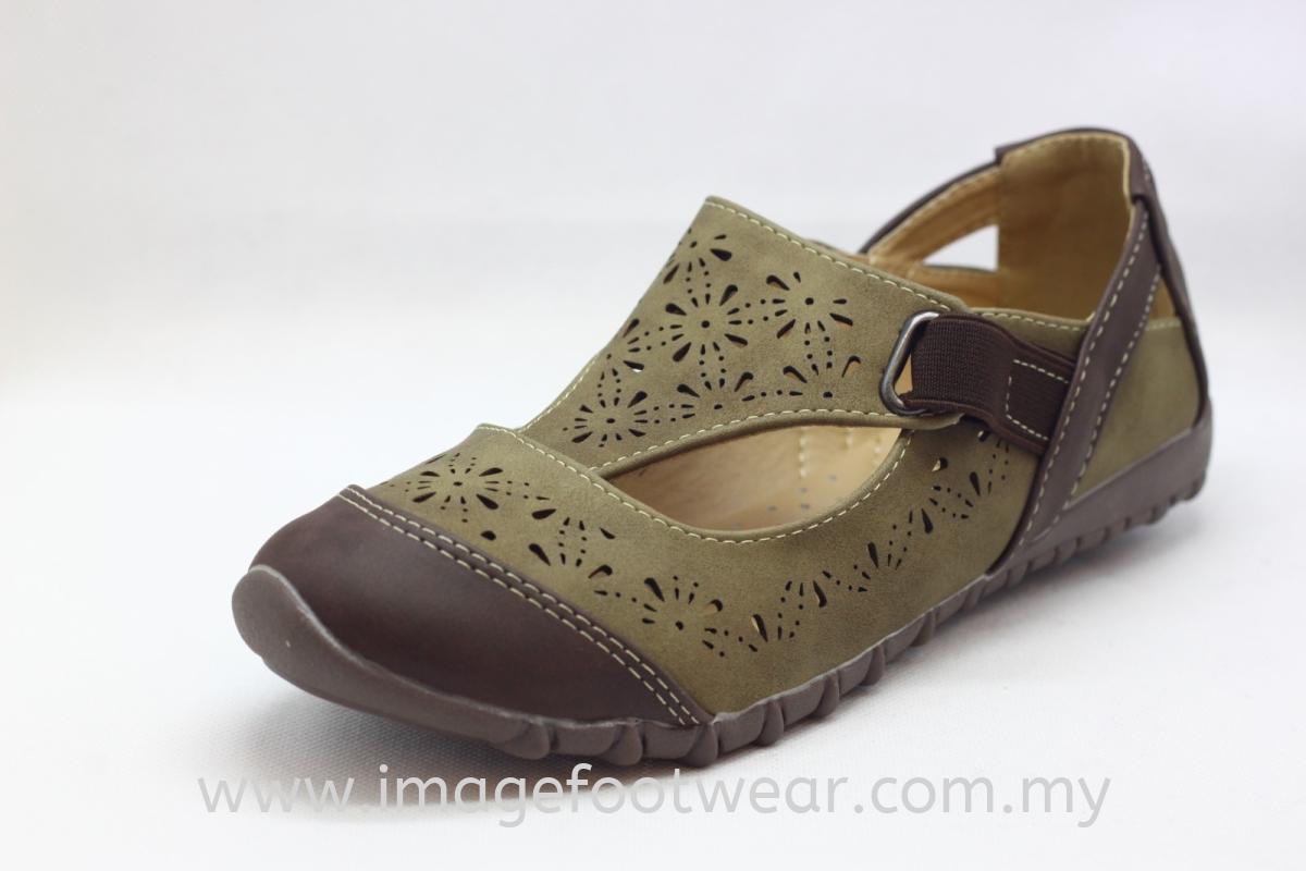 Lady Flat Trendy Comfort Shoe -TF- 01-67 - KHAKI Colour