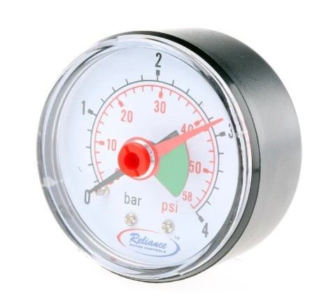 389-0575 - RS PRO GAGE250011 Analogue Positive Pressure Gauge Dial 4bar, Connection Size BSP 1/4