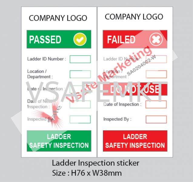 Ladder Inspection Self Adhesive PP Syntactic Paper ( Set Of 2).  Inspection Tag  Safety Signage Selangor, Malaysia, Kuala Lumpur (KL), Puchong Supplier, Suppliers, Supply, Supplies | Vsafe Marketing