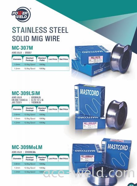 Powerweld STAINLESS STEEL SOLID MIG WIRE Others Selangor, Malaysia, Kuala Lumpur (KL), Puchong Supplier, Suppliers, Supply, Supplies | ACE Weld Sdn Bhd