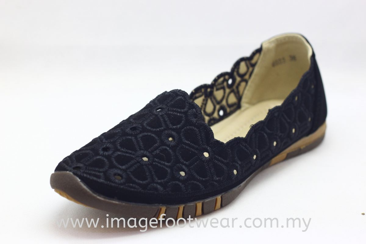 Lady Flat Trendy Comfort Shoe - TF-6603- BLACK Colour