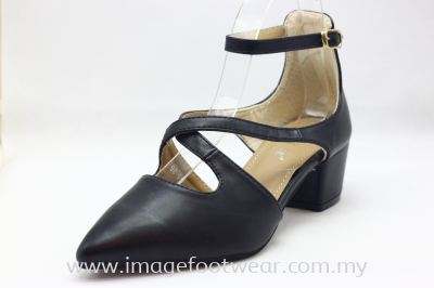 Lady Fashion Pointy Shoe with 2 Inch Heel - TF-406-105-BLACK Colour