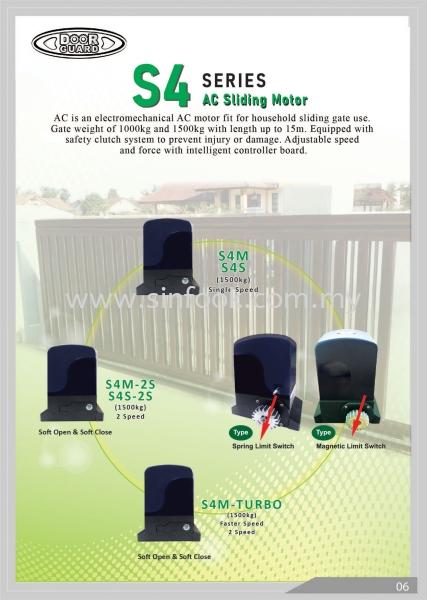 DOORGUARD S4 AC Sliding Motor DoorGuard Auto Gate System Johor Bahru (JB), Senai, Selangor, Kuala Lumpur (KL), Klang Installation, Services, Repair, Supplier   Sin Fook Electrical Alarm and Auto Gate Sdn. Bhd.