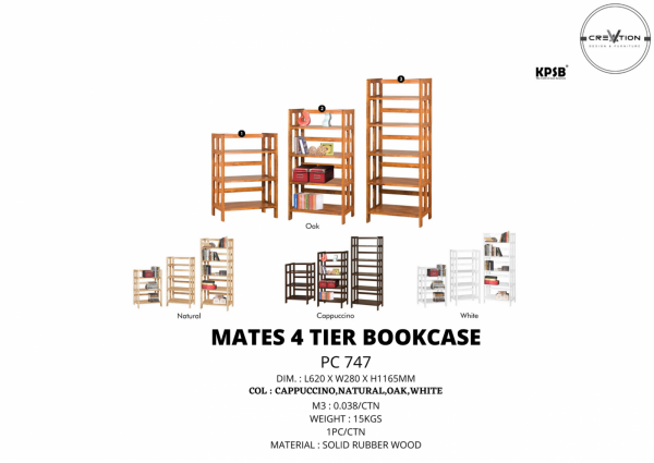 Mates 4 Tier Bookcase (PC 747) Study Room Furniture Johor, Malaysia, Kluang Supplier, Suppliers, Supply, Supplies | V Creation Design & Furniture Sdn Bhd