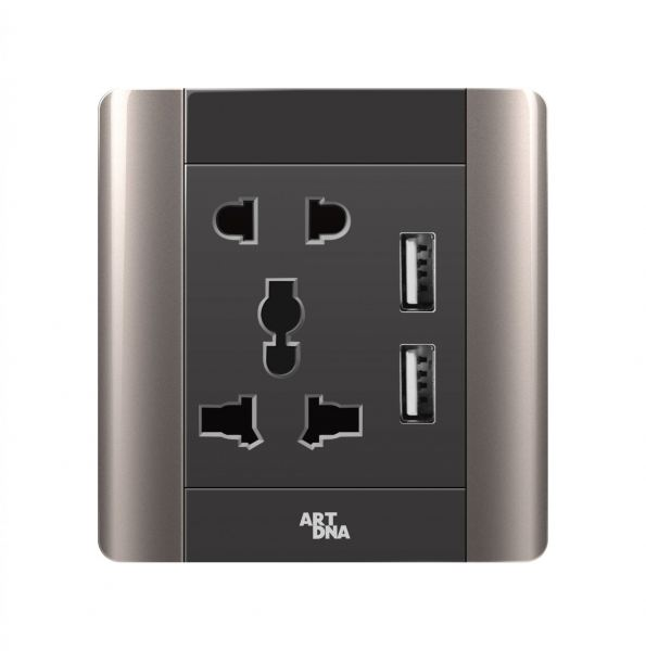 UNIVERSAL SOCKET C/W 3.4A USB CHARGER A68 Elegance Series Johor Bahru JB Malaysia Supplier Supply Suppliers | Art Dna (M) Sdn Bhd