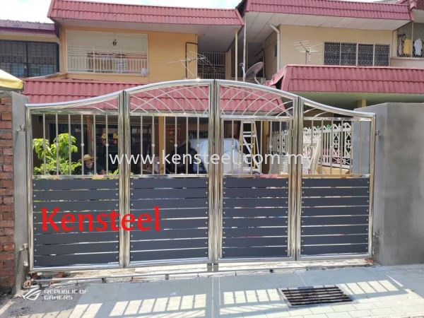wood colour main gate72 不锈钢木色大门   Supplier, Suppliers, Supplies, Supply | Kensteel