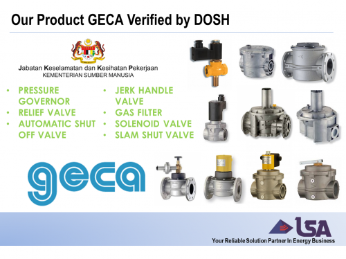 Our Product Geca from Italy Now Verified by DOSH (Department of Occupational Safety and Health)