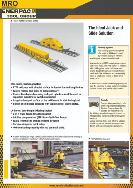 HSK, LH-Series, Skidding Systems ENERPAC Heavy Lifting Technology ENERPAC INDUSTRIAL TOOLS Selangor, Malaysia, Kuala Lumpur (KL), Subang Jaya Supplier, Suppliers, Supply, Supplies | MRO Distribution Sdn Bhd