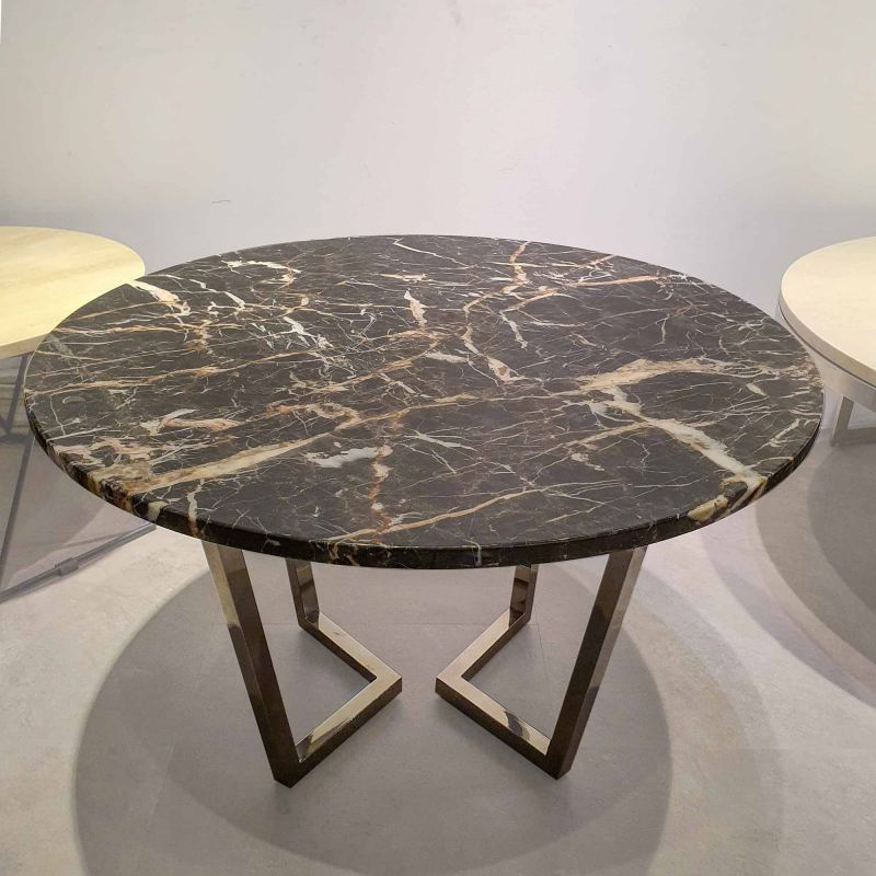 Round Marble Coffee Table - Marrone