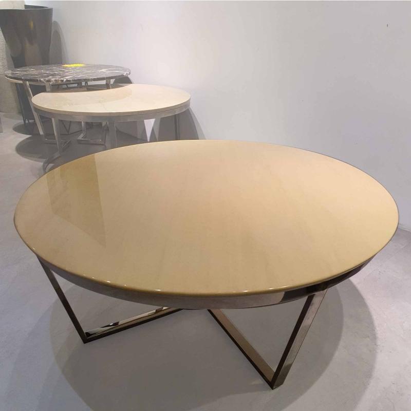 Round Marble Coffee Table - Mocha Cream