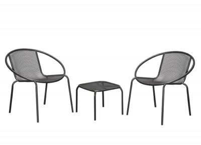 Outdoor Steel Table + Chair Set (1+2) - Cool Grey