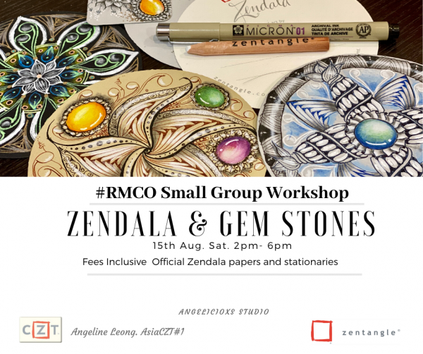 Zendala Gemstone Workshop Zentangle Workshops  Zentangle Kuala Lumpur (KL), Malaysia, Selangor, Danau Desa Class, Lesson, Workshop | Angelicioxs Studio