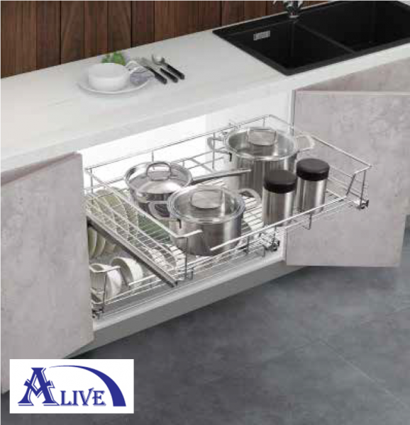 MULTI FUNCTION PULL OUT BASKET WITH UNDERMOUNT SLIDE (SUS304) Base Cabinets Platinum SUS304 Kitchen Cabinet Basket & Hardware Selangor, Malaysia, Kuala Lumpur (KL), Sungai Buloh Supplier, Suppliers, Supply, Supplies | Alive Hardware Trading (M) Sdn Bhd