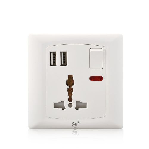 JL C1012 Universal 220V Electrical 13A multi wall socket with 2 USB