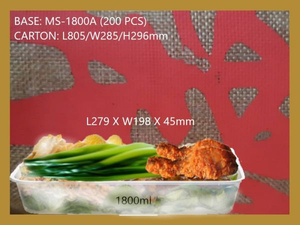 MS-1800A BASE ONLY RECTANGULAR CONTAINER (200 PCS) RECTANGLE CONTIANER MICROWAVEABLE PLASTIC CONTAINNER Kuala Lumpur (KL), Malaysia, Selangor, Kepong Supplier, Suppliers, Supply, Supplies | RS Peck Trading