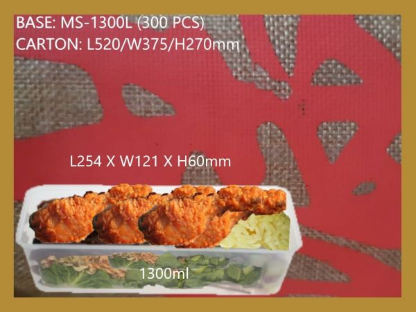 MS-1300L BASE ONLY RECTANGULAR CONTAINER (300 PCS) RECTANGLE CONTIANER MICROWAVEABLE PLASTIC CONTAINNER Kuala Lumpur (KL), Malaysia, Selangor, Kepong Supplier, Suppliers, Supply, Supplies   RS Peck Trading