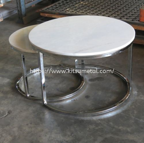 Round Marble Top with Silver Chrome Round Leg (Double)