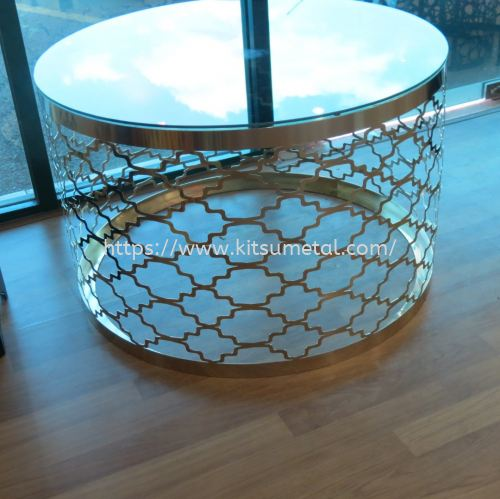 Round Glass Top with Gold Chrome Round Leg