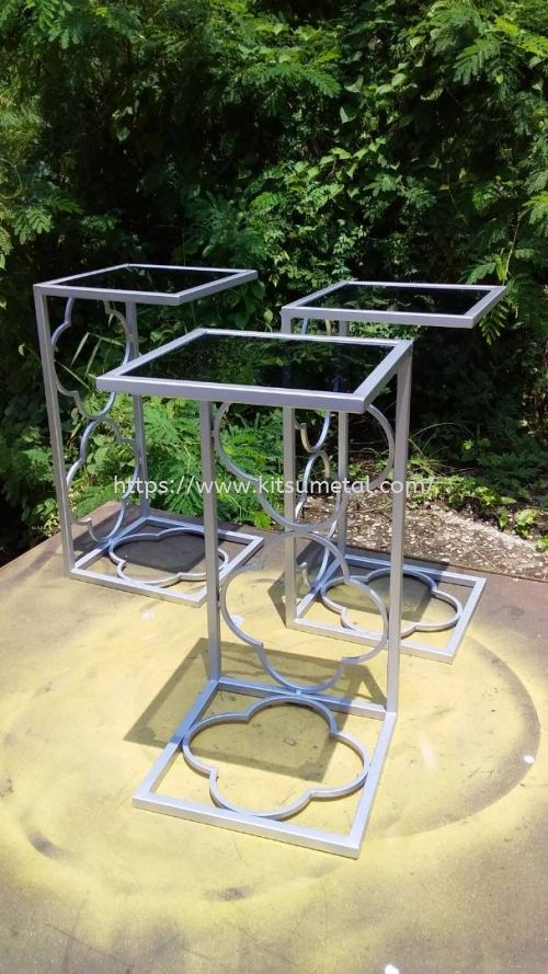 Square Glass Top with White Coating Leg