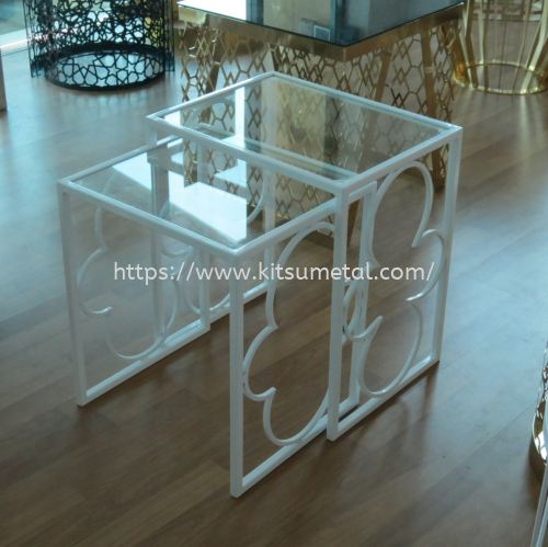 Rectangle Glass Top with White Coating Leg (Double Rack)