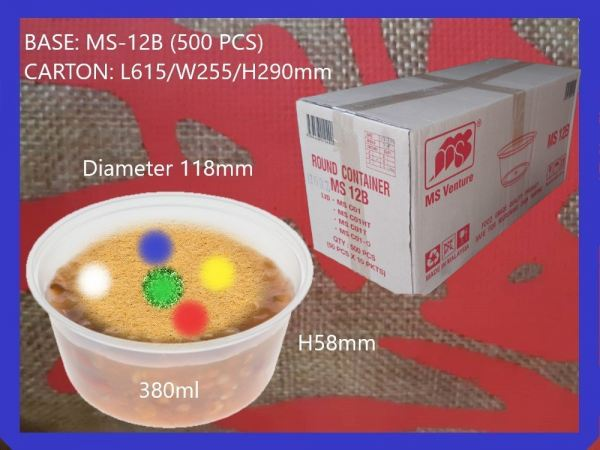 MS-12B BASE ONLY ROUND CONTAINER (500 PCS) ROUND CONTIANER MICROWAVEABLE PLASTIC CONTAINNER Kuala Lumpur (KL), Malaysia, Selangor, Kepong Supplier, Suppliers, Supply, Supplies | RS Peck Trading