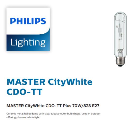 PHILIPS MASTER CityWhite CDO-TT Plus 70W/828 E27 928082019235