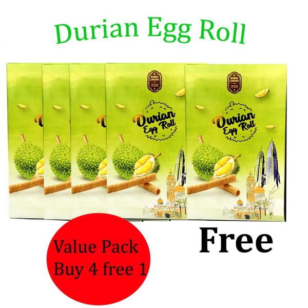 Durian Biscuit Wafer Roll 60g x 5 (Value Pack) Cookies Snacks Kuala Lumpur (KL), Malaysia, Selangor Supplier, Suppliers, Supply, Supplies | H & H Foodstuff Sdn Bhd