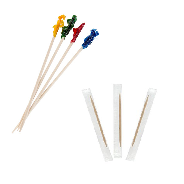 Non-minted Toothpick & 4″ Frilled Pick