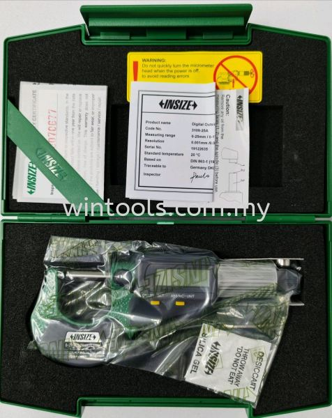"""0-25MM/0-1"""" (3109-25A) DIGITAL OUTSIDE MICROMETERS INSIZE Penang, Malaysia Supplier, Suppliers, Supply, Supplies 