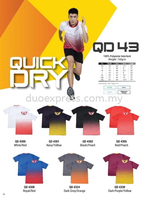 Oren QD43 Roundneck QuickDri Unisex