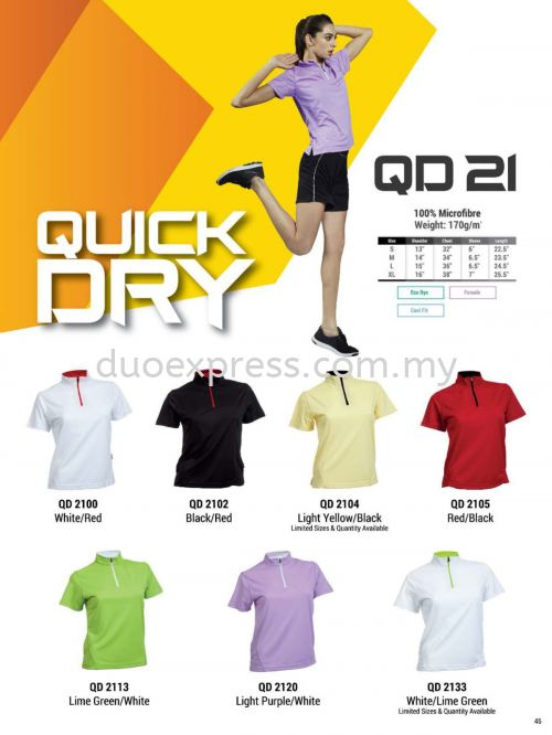 Oren QD21 Mock Neck Collar Microfibre QuickDri Ladies