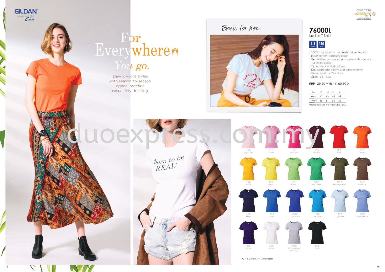 Gildan Softstyle 7600L Roundneck 180gsm Ladies T Shirt