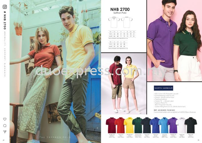 North Harbour NHB 2700 Mix Cotton Collar Polo Shirt