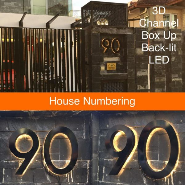 House Number Sign Back Lit Box Up Box Up Selangor, Malaysia, Kuala Lumpur (KL), Subang Jaya Manufacturer, Maker, Supplier, Supply | Far Art Neon Advertising