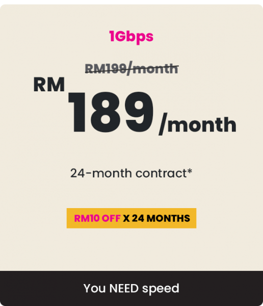1Gbps Personal Time Fibre Internet  Malaysia, Kuala Lumpur (KL), Selangor, Bukit Jalil Package | 12 EFFICIENT ENTERPRISE