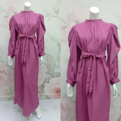 DRESS PLAIN LENGAN PUFF T9125