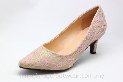 Lady Fashion Pointy Shoe with 2 Inch Heel - TF- 0450-189- PINK Colour