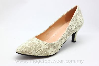 Lady Fashion Pointy Shoe with 2 Inch Heel - TF- 0450-189- LIGHT GOLD Colour